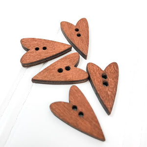 Tall Skinny Wood Heart Button - 5 pack