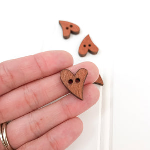 Curved Heart Wood Button - 5 pack