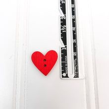 Load image into Gallery viewer, Red Wood Heart Buttons - 5 pack