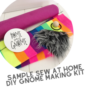 DIY White With Pink Heart Pink Curly Beard Gnome - SEW AT HOME