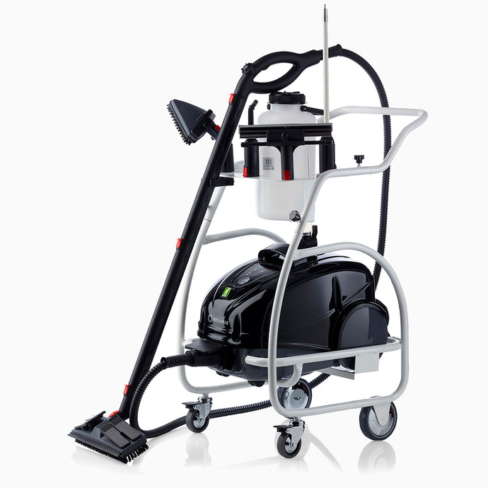 Optional trolley includes direct water feed and non-skid wheels