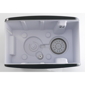 Inside the S450 High Capacity Steam Humidifier. Anti-mineral pad keeps white dust in check.