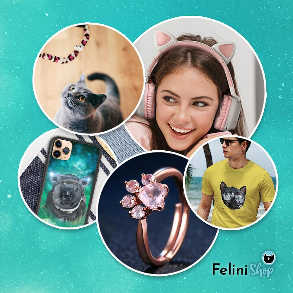Images of cat products and cat-lover gifts at Felini.shop (e.g. cat headphones, cat toys, cat ring, cat t-shirt, cat phone case))