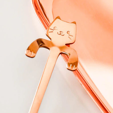Cute Cat Spoon, close up of upper part of the cat spoon, rose gold variant