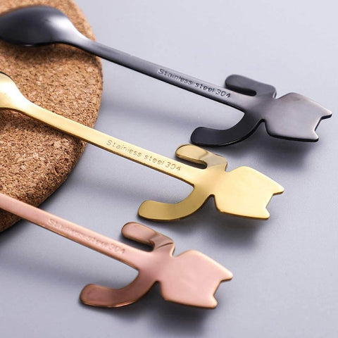 Cat Spoons Close Up of the backside of this cute tableware - rose gold, golden and black