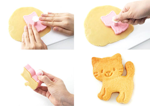 How to create super cute cat biscuits and kitty cookies easily with our sweet cartoon cookie cutters