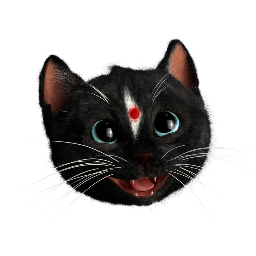 Head of Felini the Kitty as Happy Indian Cat with a Bindi Dot on his forehead