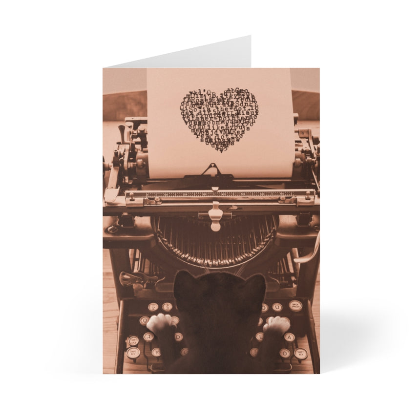 Felini Cat Typewriter Heart - Valentine Greeting Card (8 pcs)