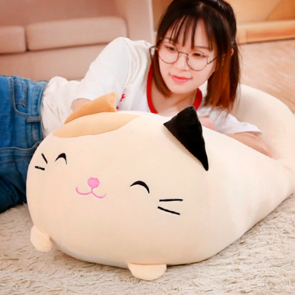 Cute Kawai Cat Pillow - Woman leaning on big beige smiling cat cushion