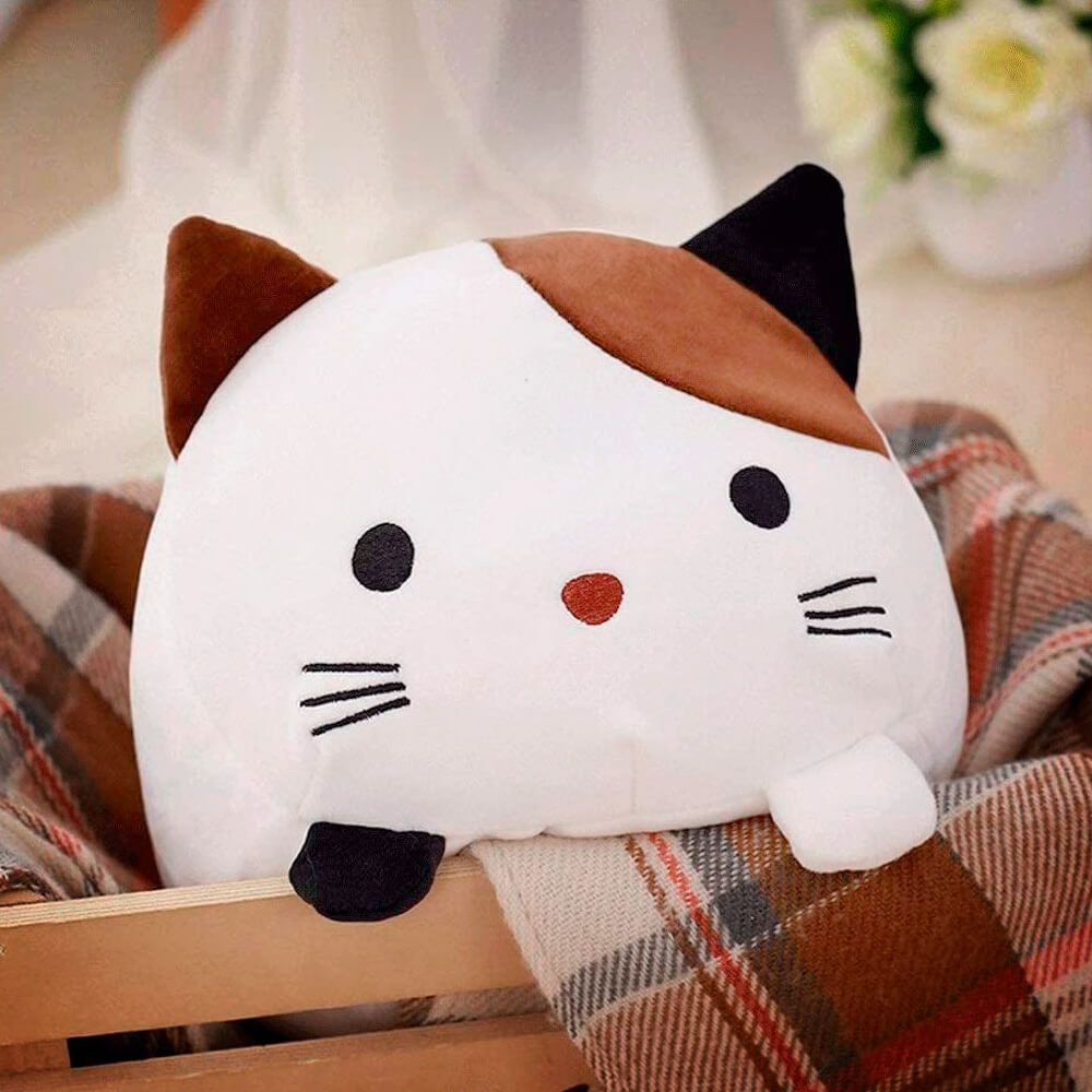 Cute Kawai Cat Pillow - image showing the cute little 30cm variant cat pillow looking out of a basket