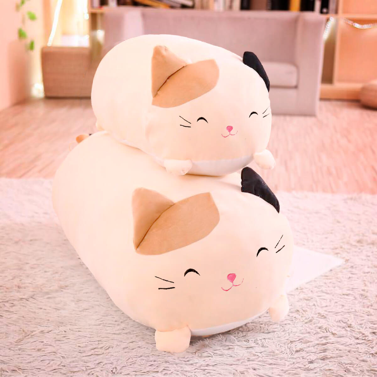 Cute Kawai Cat Pillows - two cat pillow size comparison with beige smiling variant