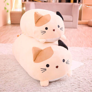 Cute Kawai Cat Pillows - two cat pillow size comparison with beige variant