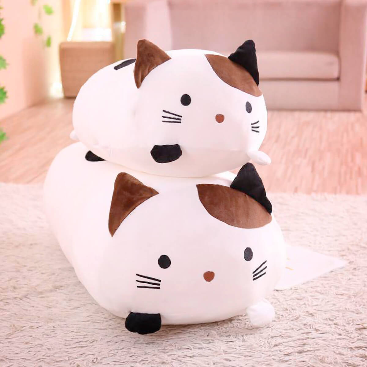 Cute Kawai Cat Pillows - two cat pillow size comparison with white variant
