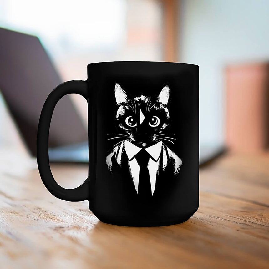 Black & White Felini Cat Drawing in Suit - Black Mug 15oz (440ml)