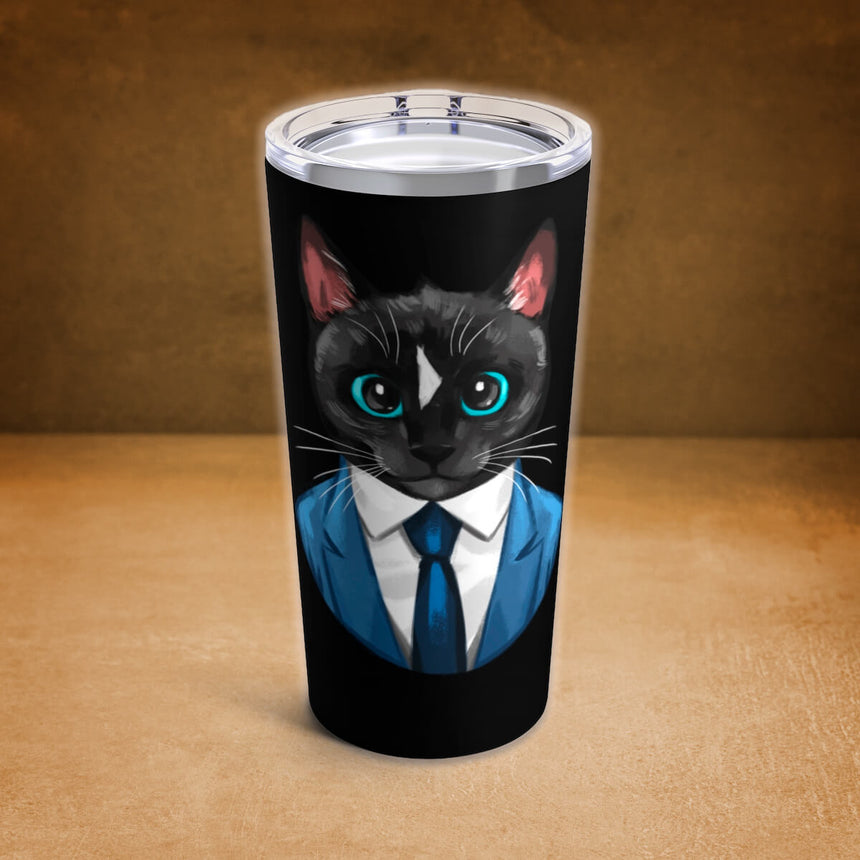 Business Cat Black Tumbler - Felini Cat in Suit 20oz (590ml)