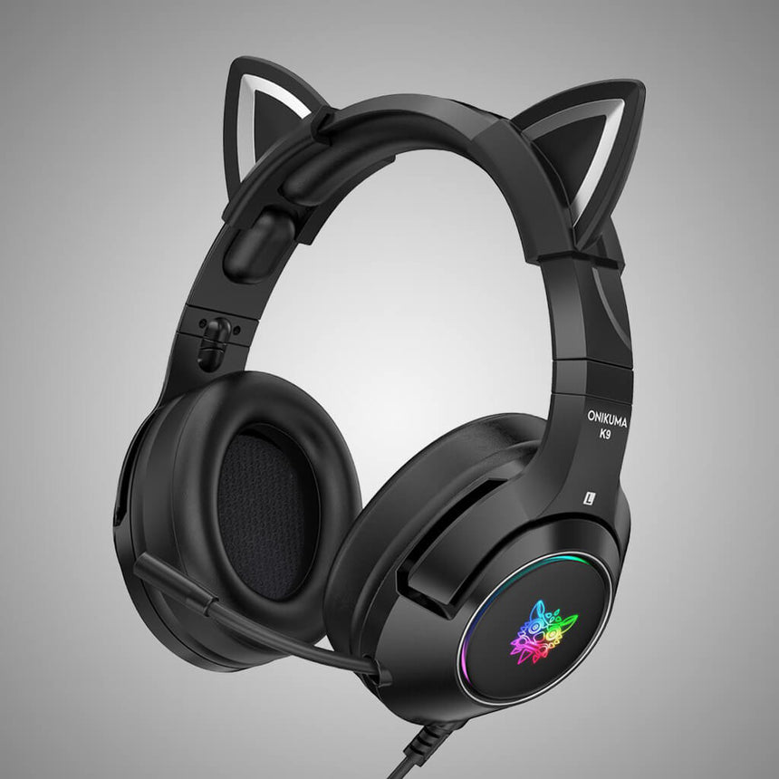 Cool Black Cat Gaming Headset - image of black wired gaming headphones with microphone