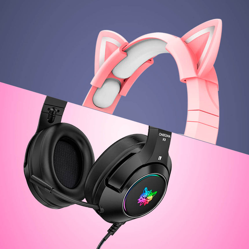 Cool Black or Pink Cat Gaming Headset - image of black wired gaming headphones with microphone