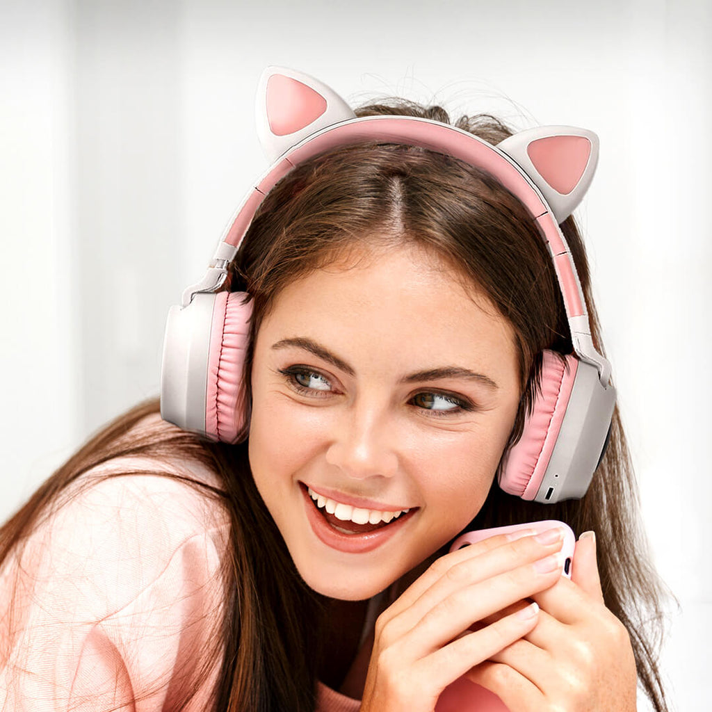 Cat Headphones Kitty Tunes, wireless headphone with cat ears - cute girl with grey/pink earphones