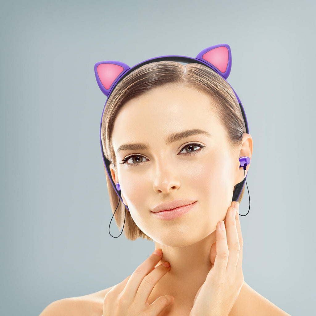 Cat Headphones Headband - Kitty Tunes Hairband - image of beautiful woman wearing cute purple cat headphone headband bluetooth with kitty ears