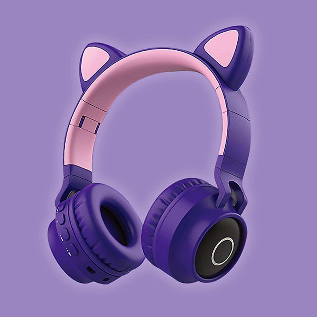 Cat Headphones Kitty Tunes, cute wireless headphone with cat ears - product image purple earphones