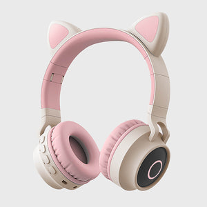 Open image in slideshow, Cat Headphones Kitty Tunes, cute wireless headphone with cat ears - product image grey/pink earphones