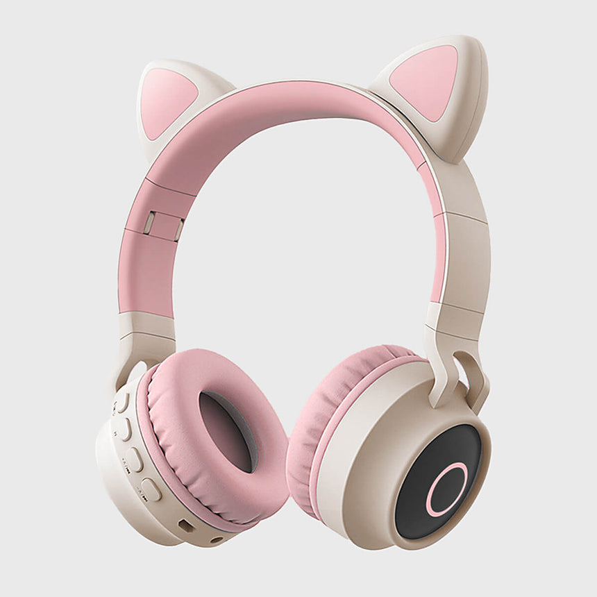 Cat Headphones Kitty Tunes, cute wireless headphone with cat ears - product image grey/pink earphones