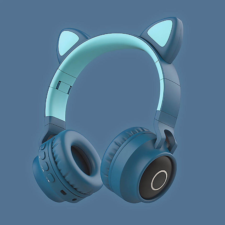 Cat Headphones Kitty Tunes, cute wireless headphone with cat ears - product image blue/green earphones