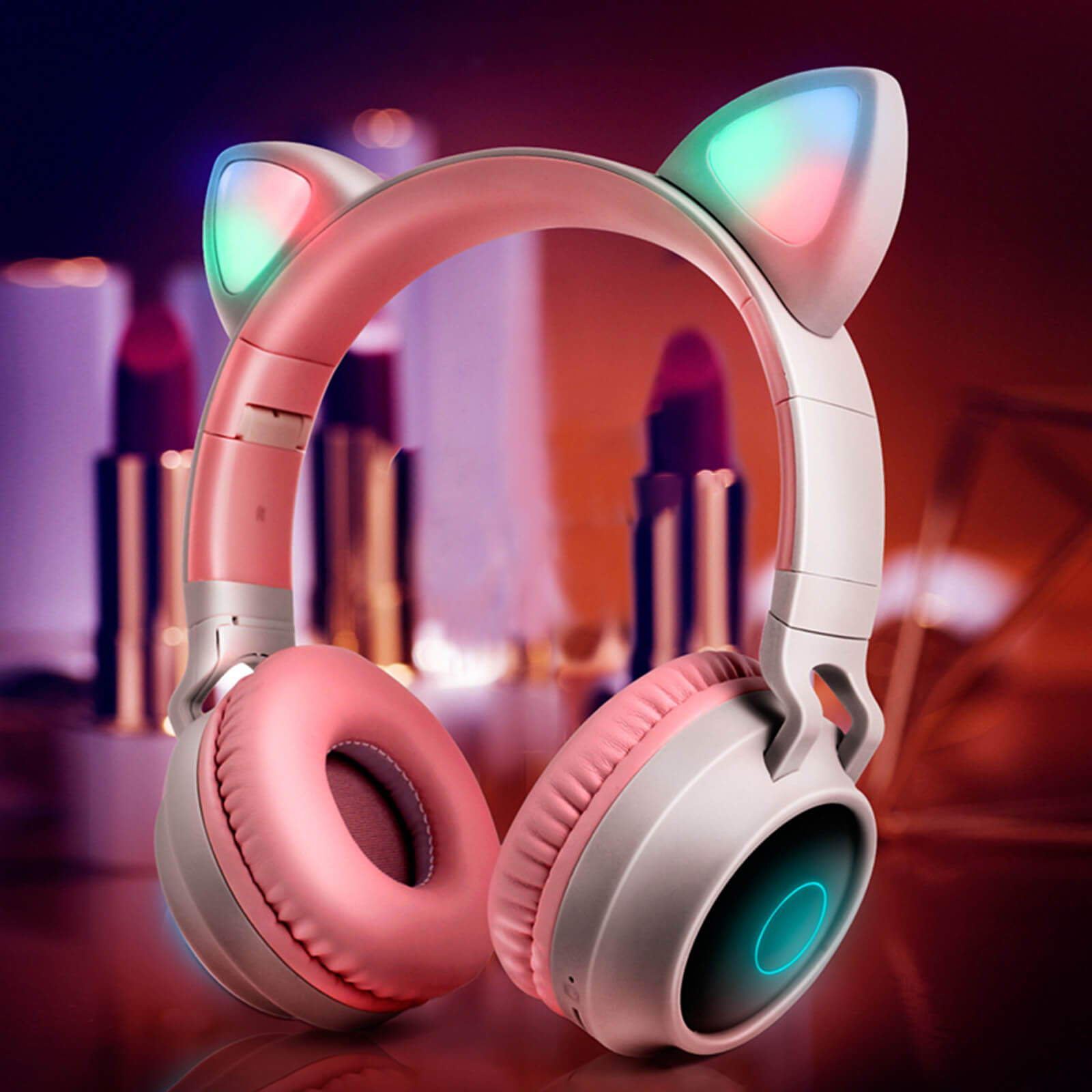 Cat Headphones Kitty Tunes, cute wireless headphone with cat ears - product image grey/pink earphones night mode, led lights turned on