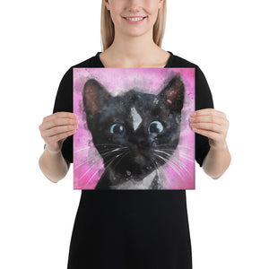 Pink Paint Kitty Felini on Canvas - Felini Cat Shop