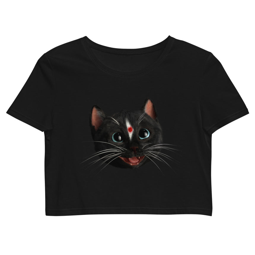 Black Crop Top T-Shirt with head of Felini the Kitty as Indian Cat with a Bindi Dot on his forehead