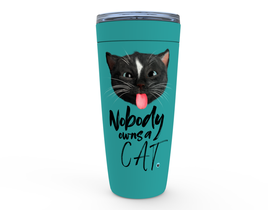 Viking Tumbler 20oz mint green with Felini the Kitty sticking tongue out with text Nobody Owns A Cat