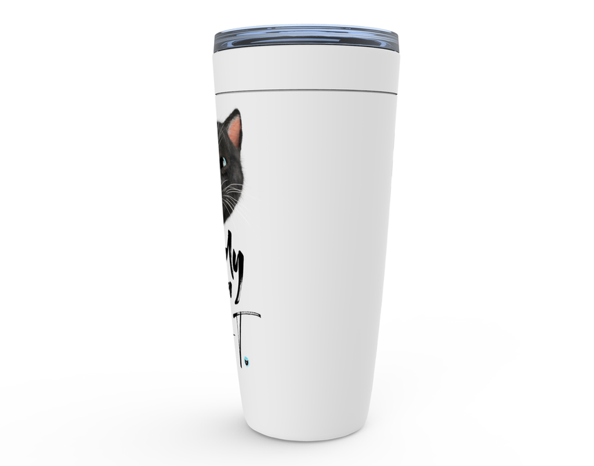 Viking Tumbler 20oz white with Felini the Kitty sticking tongue out with text Nobody Owns A Cat - side view