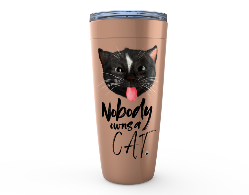 Viking Tumbler 20oz copper colored with Felini the Kitty sticking tongue out with text Nobody Owns A Cat