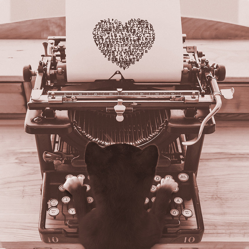 Free Felini Cat Wallpaper - Cute Kitty Typing a Loveletter on old typewriter