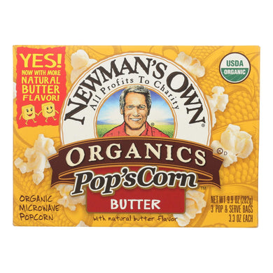Organic Popcorn, Butter - Pack of 12 3.3-oz bags