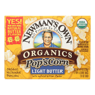 Organic Popcorn, Light Butter - Pack of 12 3.3-oz bags