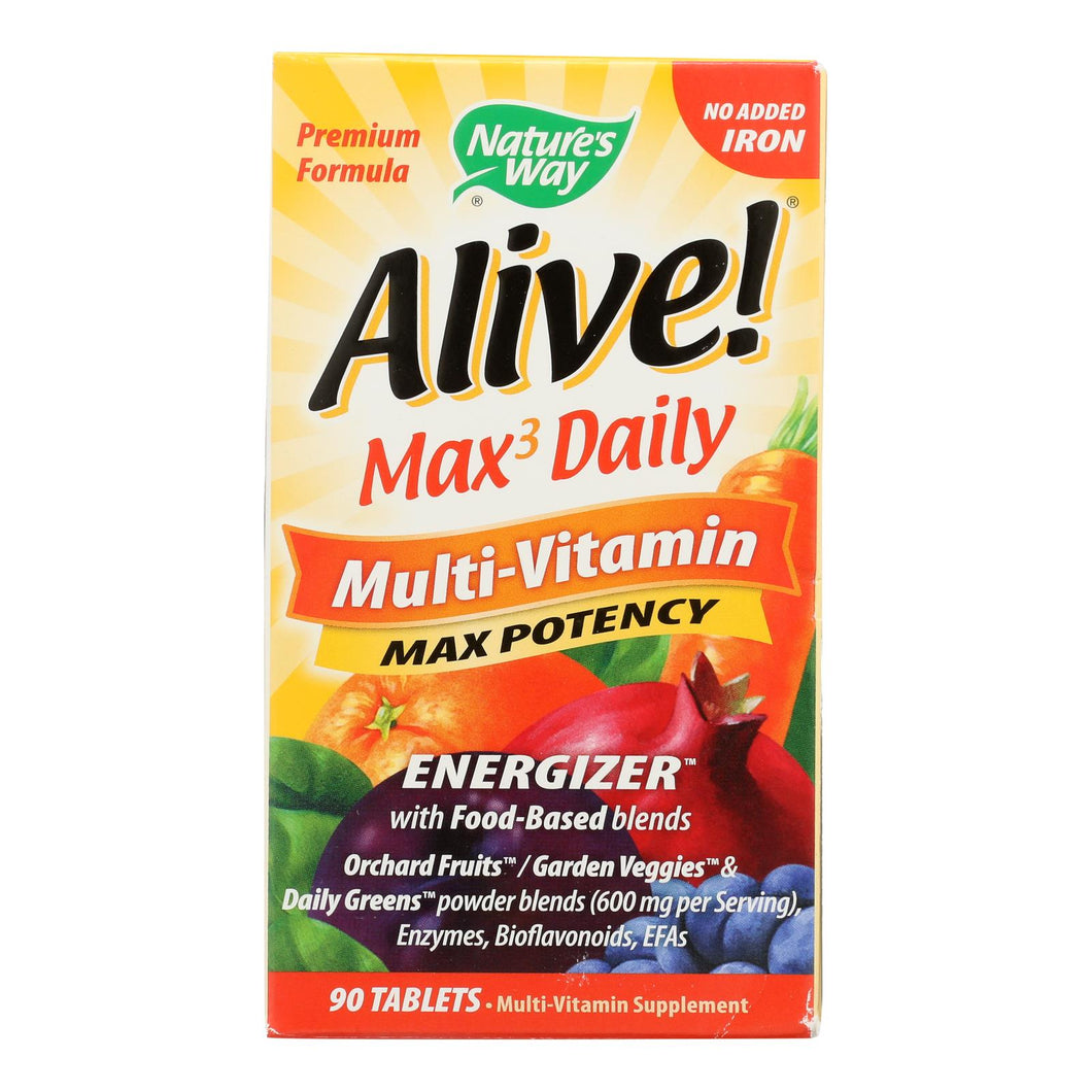 Nature's Way - Alive! Max3 Daily Multi-vitamin - Max Potency - No Iron Added - 90 Tablets