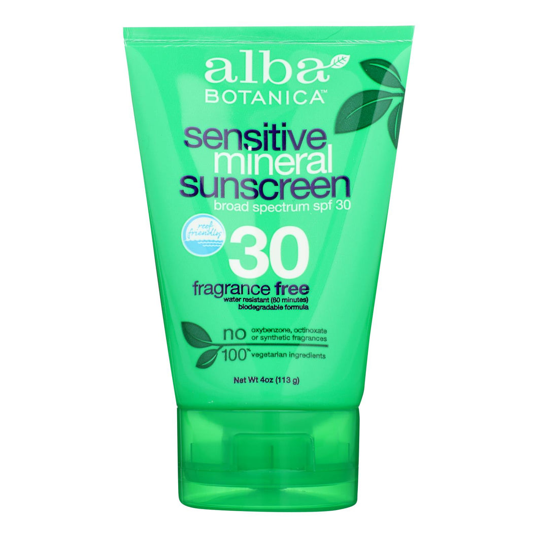 Alba Botanica - Sunscreen - Alba Sun Min Spf 30 F.free 4oz. - Case Of 1 - 4 Fl Oz.