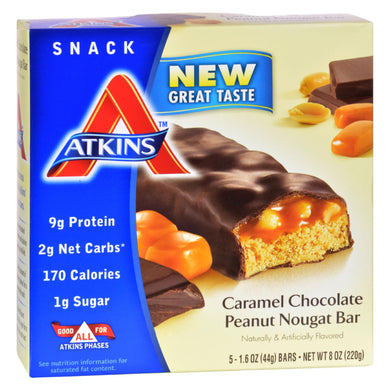 Protein Bars, Caramel Chocolate Peanut Nougat, 5 1.4-oz bars