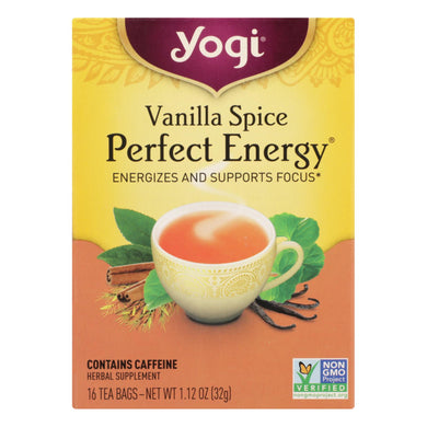 Yogi Perfect Energy Herbal Tea Vanilla Spice - 16 Tea Bags - Case Of 6