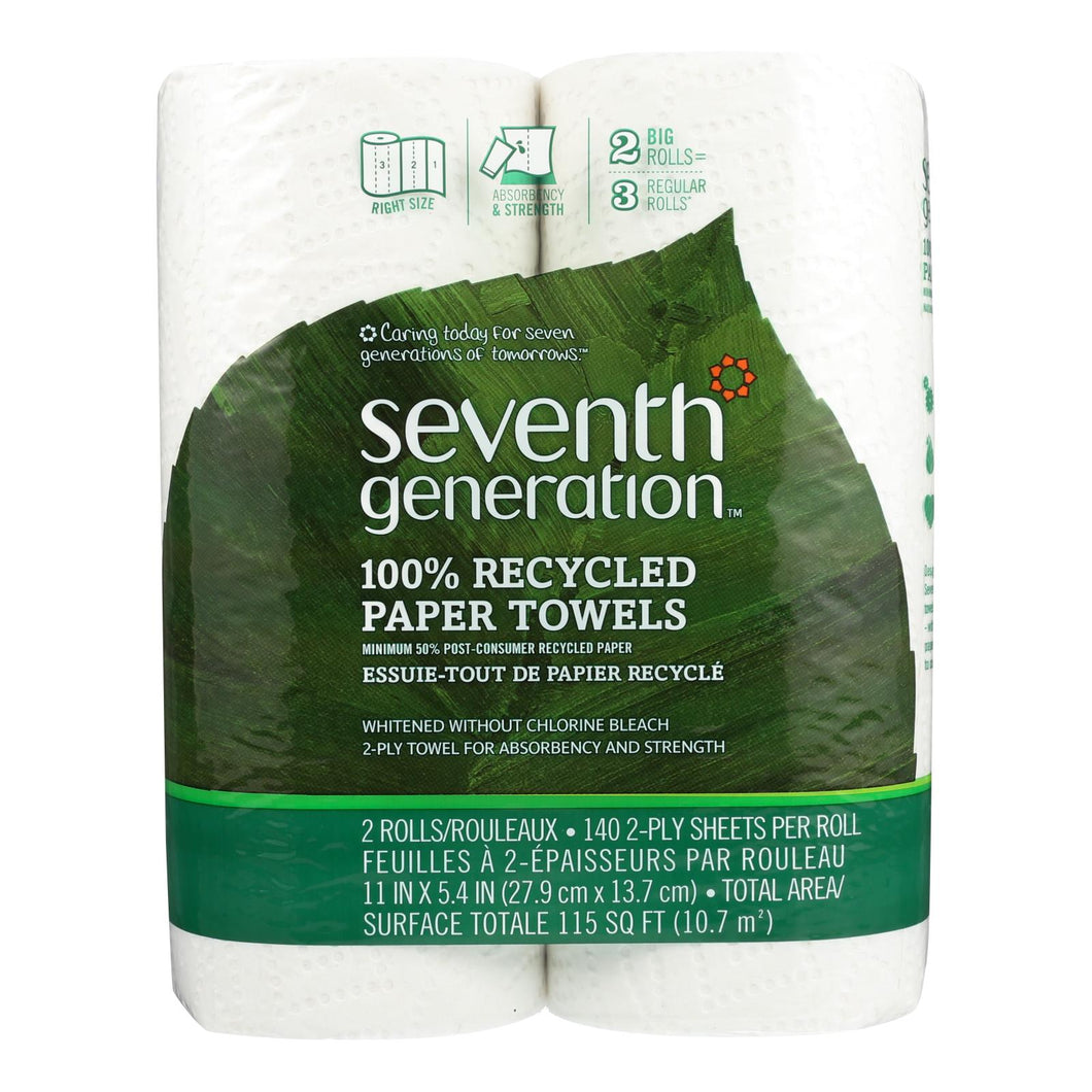 Seventh Generation Recycled Paper Towels - White - Case Of 12 - 140 Sheets