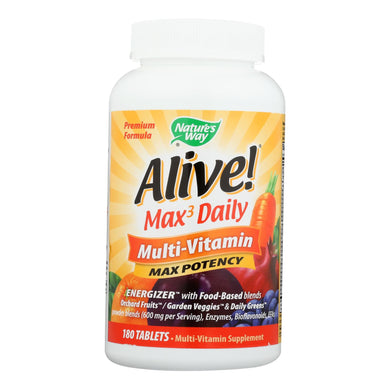 Nature's Way - Alive! Max3 Daily Multi-vitamin - Max Potency - 180 Tablets