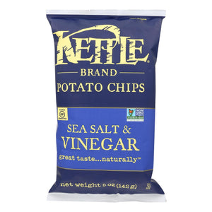 Kettle Brand Potato Chips - Sea Salt And Vinegar - Case Of 15 - 5 Oz.