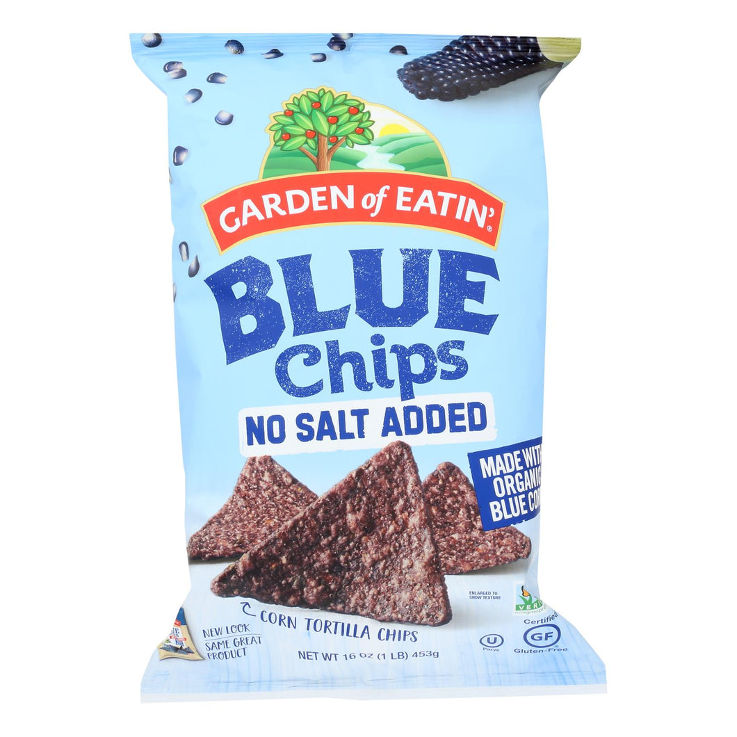 Organic Blue Corn Tortilla Chips, Unsalted - Pack of 12 16-oz bags