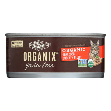 Organic Wet Cat Food, Shredded Chicken - Pack of 24 5.5-oz cans