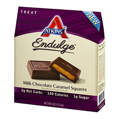 Low-Carbs Chocolate Caramel Squares, Pack of 6 5-oz boxes