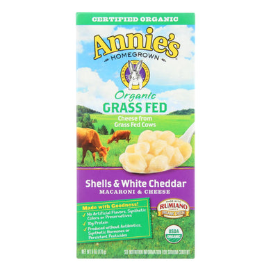 Annies Homegrown Macaroni And Cheese - Organic - Grass Fed - Shells And White Cheddar - 6 Oz - Case Of 12