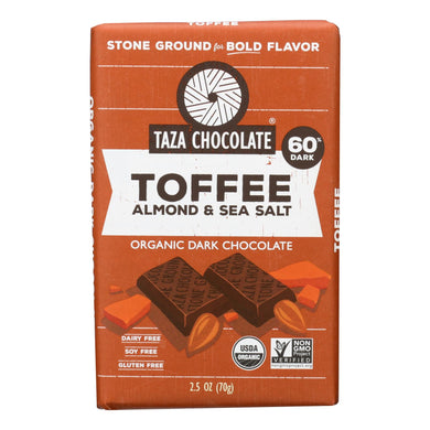 Organic Chocolate Bar, Toffee Almond and Sea Salt - Pack of 10 2.5-oz bars