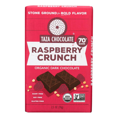 Organic Chocolate Bar, Raspberry Crunch - Pack of 10 2.5-oz bars