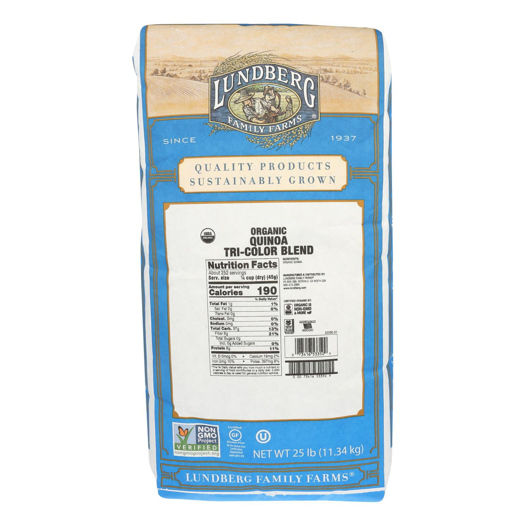 Lundberg Family Farms Quinoa Tri Color Blend - Case Of 25 Lbs